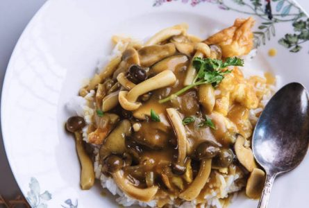 Easy mushroom Curry Over Rice