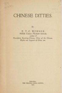 Chinese ditties by E. T. C. Werner -1922