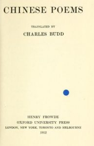 Chinese poems by Charles Budd - 1912