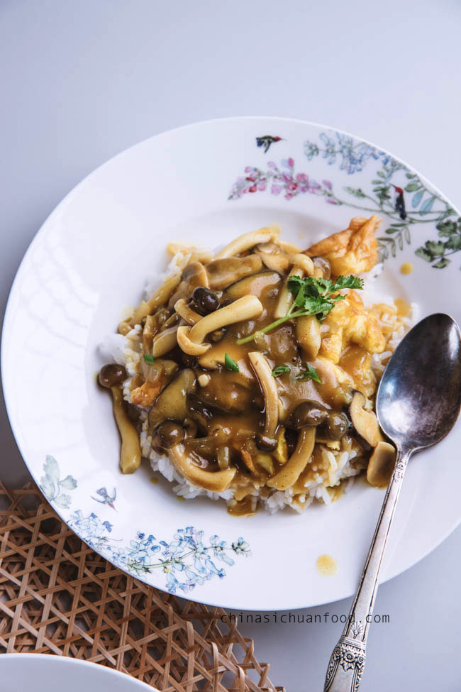 mushroom curry over rice |chinasichuanfood.com
