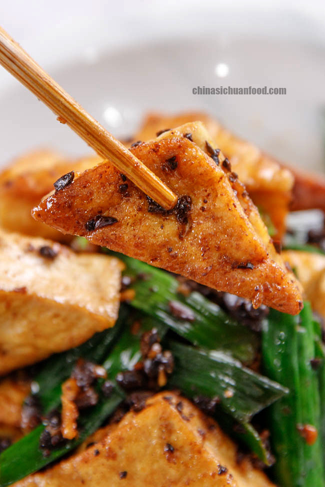pan-fried tofu with fermented black beans|chinasichuanfood.com